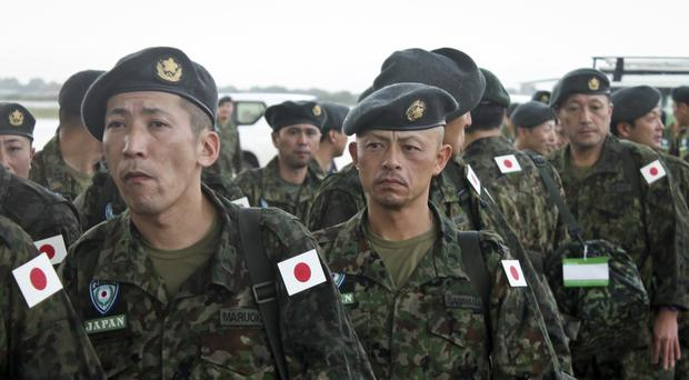 Members of the Japan Self-Defence Forces in Juba, South Sudan (AP)