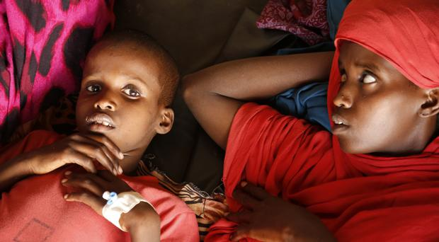 Malnourished children at a camp in Baidoa, Somalia, which has been hit by drought (AP)