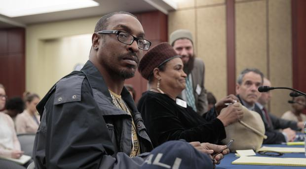 Muhammad Ali Jr and his mother Khalilah Camacho-Ali attend a forum on Capitol Hill in Washington (Scott Applewhite/AP)