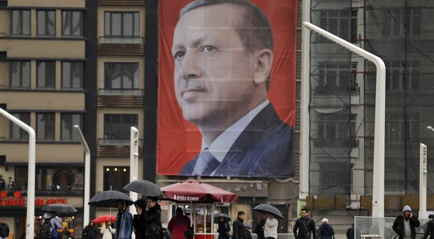 Mr Erdogan has slammed European countries for not letting his ministers campaign on their soil for the April 16 vote on expanding his powers. (AP)