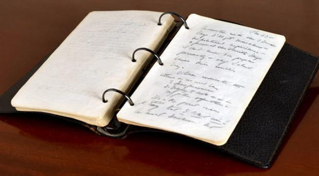 A portion of a diary written in 1945 by John F Kennedy during his brief stint as a journalist after the Second World War (Sarina Carlos/RR Auction via AP)
