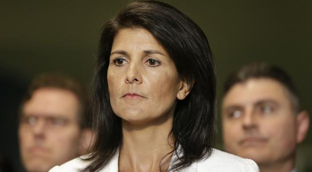 United States ambassador Nikki Haley addresses the media outside the General Assembly at UN headquarters (AP)
