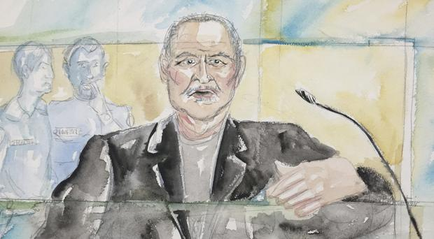A courtroom sketch of Venezuelan-born Ilich Ramirez Sanchez known as