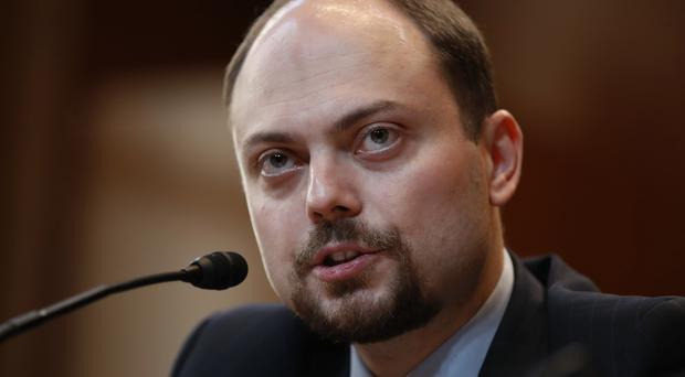 Russian opposition politician Vladimir Kara-Murza, a critic of Russian President Vladimir Putin, testifies on Capitol Hill in Washington