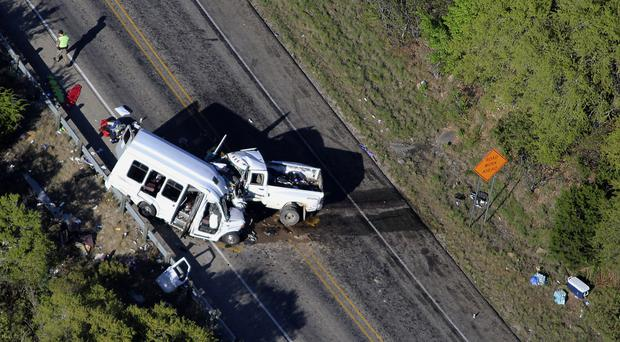 The scene of the crash outside Garner State Park in northern Uvalde County, Texas (San Antonio Express-News/AP)