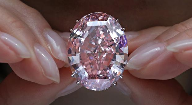 The Pink Star diamond has sold at a Sotheby's auction in Hong Kong (AP /Vincent Yu)
