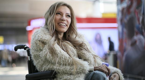 Singer Yulia Samoylova, who was chosen to represent Russia in the 2017 Eurovision Song Contest,(Maria Antipina/AP)