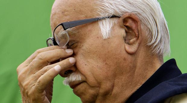 Bharatiya Janata Party leader LK Advani is one of the four facing trial. (AP/Gurinder Osan)