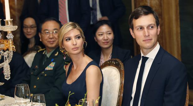 Ivanka Trump with her husband Jared Kushner during a dinner with Chinese President Xi Jinping. (AP/Alex Brandon)