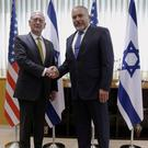 Israeli Defence Minister Avigdor Lieberman, right, with US counterpart James Mattis in Tel Aviv (Jonathan Ernst/Pool photo via AP)