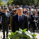 Benjamin Netanyahu lays a wreath at the Yad Vashem Holocaust memorial