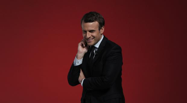French centrist presidential candidate Emmanuel Macron delivers a speech during a campaign rally in Chatellerault (AP)