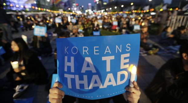 South Korean protesters demonstrate against the controversial Thaad US missile defence system (AP)