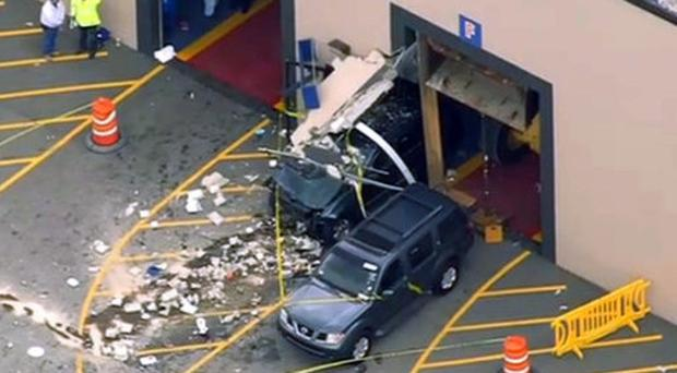 This still image from video provided by NBC Boston shows wreckage after the incident (NBC Boston via AP)