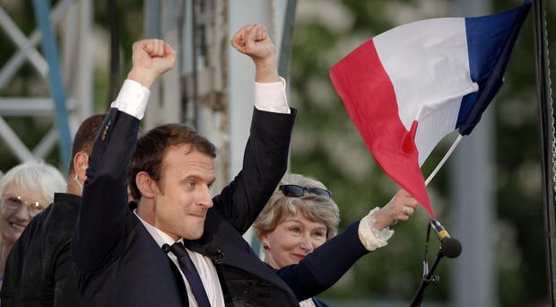 French presidential candidate Emmanuel Macron campaigns in Albi, southern France (Christophe Ena/AP)