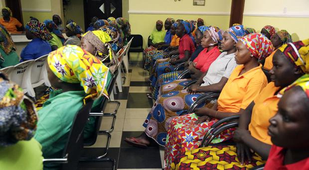 Some of the Chibok schoolgirls who were recently freed from captivity in Nigeria (AP/Sunday Alamba)