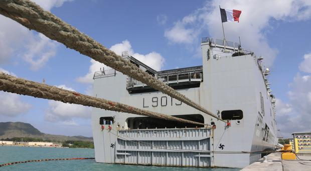 FS Mistral, a French amphibious assault ship, docks at Naval Base Guam (Haven Daley/AP)