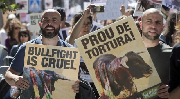 Protesters carry banners during an anti-bullfighting demonstration (Paul White/AP)
