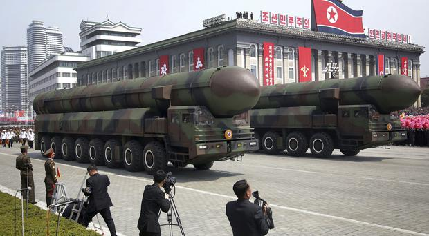 Missiles are paraded across Kim Il Sung Square during a military parade in Pyongyang on April 15, as North Korea has fired a projectile (AP Photo/Wong Maye-E, File)