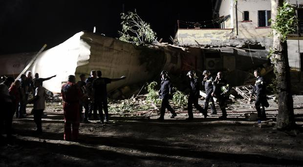 The scene of a fatal train derailment close to the northern city of Thessaloniki in Greece (AP Photo/Giannis Papanikos)