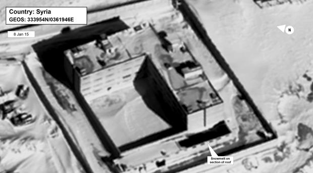A satellite image of what the US State Department described as a building in a prison complex modified to support a crematorium (State Department/DigitalGlobe/AP)