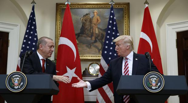 The skirmish came on the day President Donald Trump met Turkish President Recep Tayyip Erdogan. (AP/Evan Vucci)