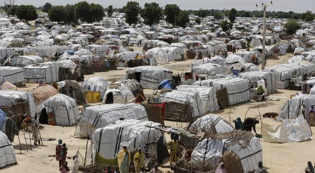 A view of one of the biggest camps for people displaced by Islamist extremists in Maiduguri, Nigeria (Sunday Alamba/AP)