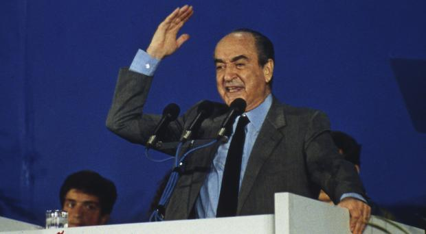 Constantine Mitsotakis pictured in 1990, when he was New Democracy leader, at an election rally in Athens (AP Photo/Aris Saris, File)