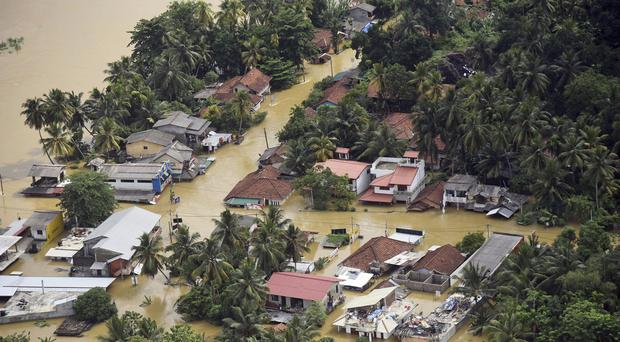Houses submerged in floodwater in Sri Lanka (Sri Lanka Air Force via AP)