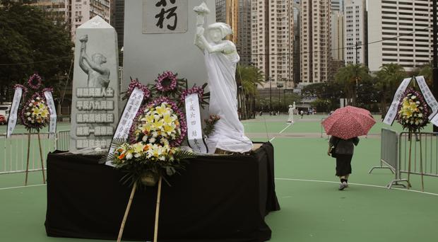Preparations are under way in Hong Kong's Victoria Park for Sunday's vigil (AP Photo/Vincent Yu)
