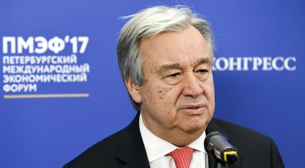 UN Secretary-General Antonio Guterres has opened a global conference in a bid to tackle sea pollution (Donat Sorokin/TASS News Agency via AP)