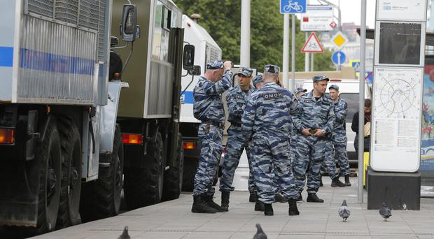 Russian Interior Ministry special force officers in Moscow ahead of protests (AP)