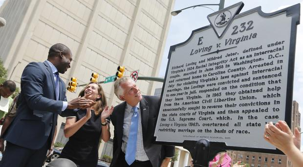 Virginia governor Terry McAuliffe looks over a historical marker, with his wife, Dorothy (AP/Steve Helber)