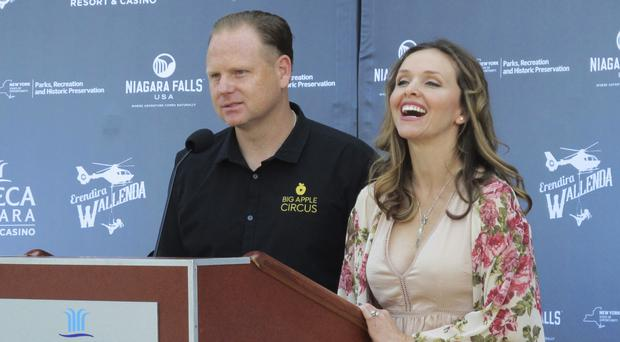 Trapeze-artist Erendira Wallenda smiles as she and her daredevil husband Nik describe her plans to perform an acrobatic routine while suspended from a helicopter above Niagara Falls (AP)