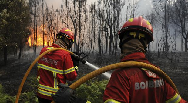 Firefighters work to stop a forest blaze from reaching the village of Figueiro dos Vinhos in central Portugal (AP Photo/Paulo Duarte)
