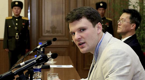 American student Otto Warmbier speaking to reporters in Pyongyang, North Korea