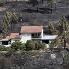 A house that escaped a recent forest fire stands out against the burnt ground in Serra do Macario, central Portugal (Armando Franca/AP)