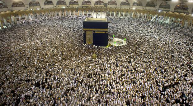 Pilgrims at the Grand Mosque in the Muslim holy city of Mecca
