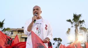 Prime Minister Edi Rama holds a speech during an electoral rally in the town of Durres