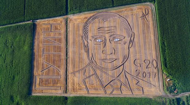 A giant portrait of Russian president Vladimir Putin in a field in Castagnaro, near the northern Italian city of Verona. (Dario Gambarin/AP)