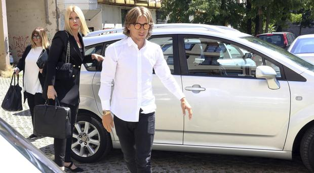 Luka Modric arrives at the courthouse in Osijek, eastern Croatia (AP)