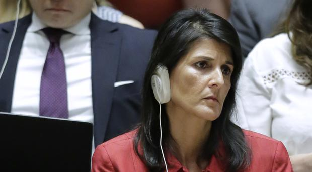 Nikki Haley listens during the United Nations Security Council meeting