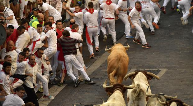 Revellers run in front of Cebada Gago fighting bulls during the first bullrun of 2017 at the San Fermin Festival in Pamplona, Spain (AP Photo/Alvaro Barrientos)