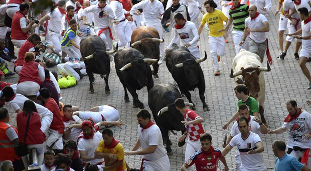 Revellers run in front of fighting bulls at the San Fermin Festival in Pamplona (AP)