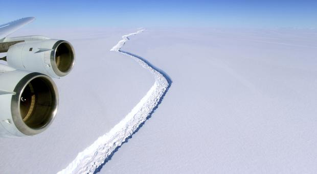 A rift in the Antarctic Peninsula's Larsen C ice shelf (John Sonntag/NASA/AP)