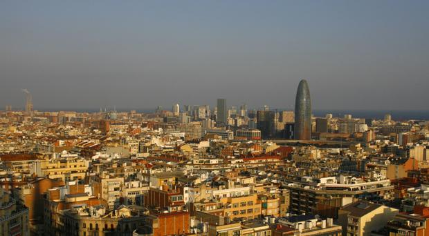 Barcelona skyline seen from of Antoni Gaudi's cathedral La Sagrada Familia in the Catalan city
