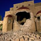The damaged facade of Agios Nikolaos church following an earthquake in Kos, Greece (AP/Petros Giannakouris)