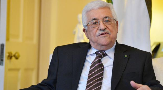 Palestinian leader Mahmoud Abbas during a visit to London in 2013