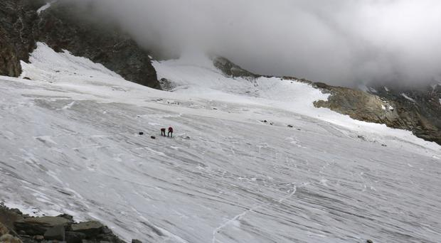 The place at Hohlaub Glacier, near Saas Fee, Switzerland, where the body of a German hiker was found (Police of Canton Valais/Keystone via AP)