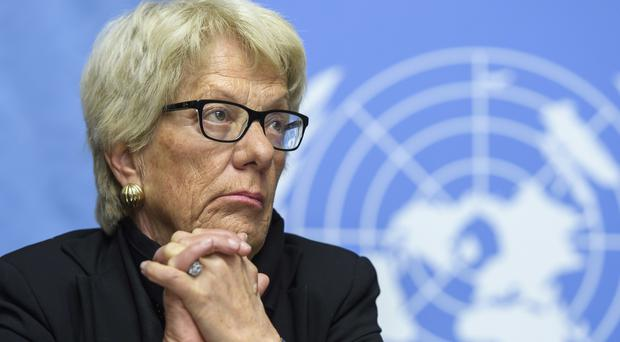 Carla del Ponte is resigning from the Independent Commission of Inquiry on the Syrian Arab Republic after five years (Martial Trezzini/Keystone via AP, File)